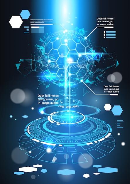 インフォグラフィック要素コピースペースを持つ未来的なテンプレートバナーtech abstract background charts Premiumベクター