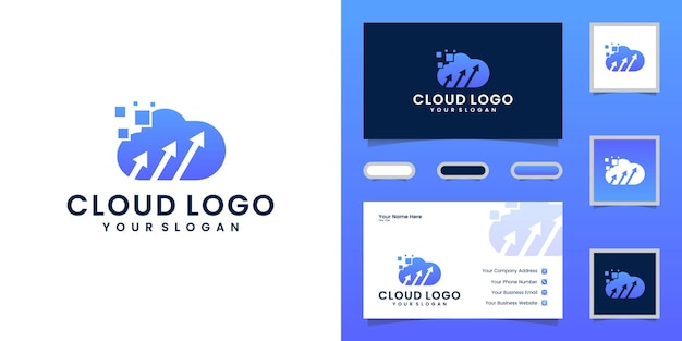 Tech cloud logo with arrow and business card Premium Vector