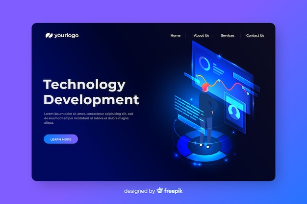 Целевая страница концепции развития технологий Бесплатные векторы
