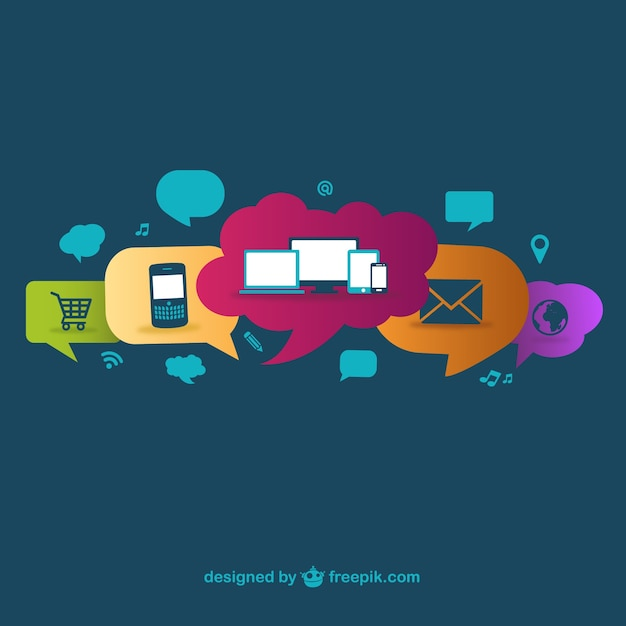 Tech devices in speech bubbles Free Vector