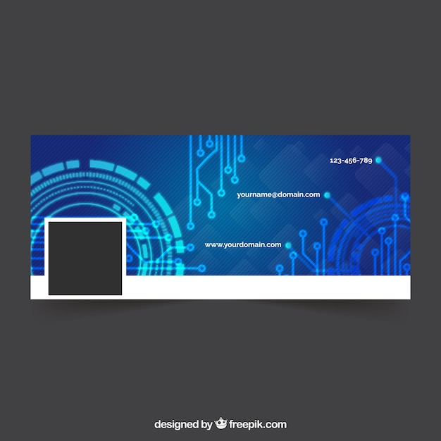 Tech Facebook Cover Free Vector