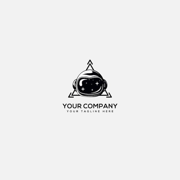 技術ロゴ、宇宙飛行士ロゴ、ヘルメット宇宙飛行士、三角形技術ロゴ Premiumベクター