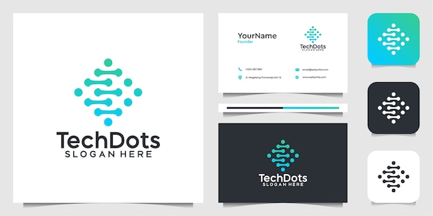 Tech logo illustration    design. logo and business card Premium Vector