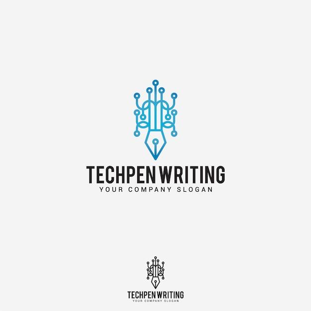 Tech pen writing logo Premium Vector