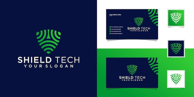 Tech shield security logo design template and business card Premium Vector