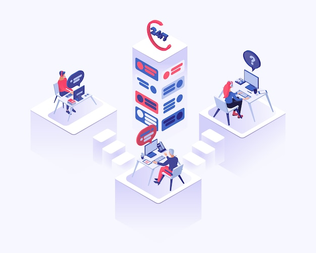 Tech support, office workers with headset sitting at desk Premium Vector