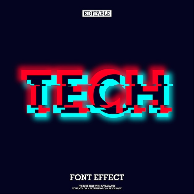 Tech typeface with glowing and glitch effect Premium Vector