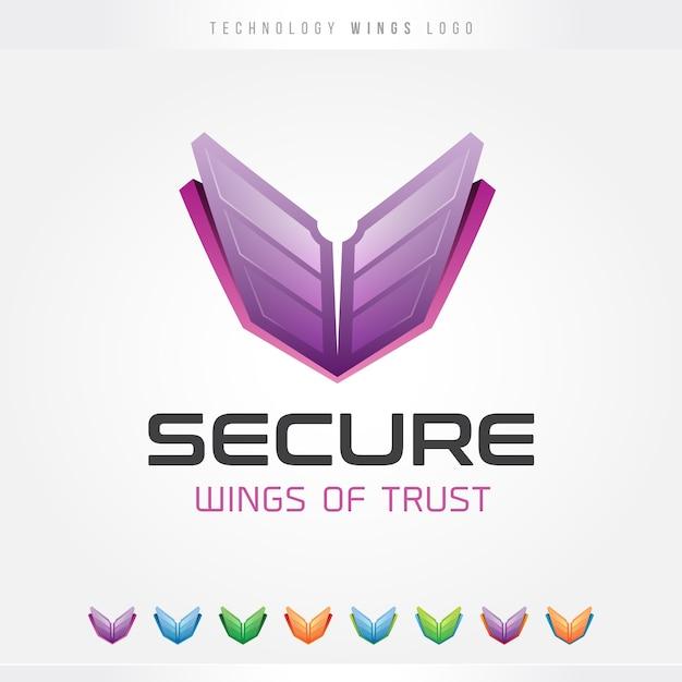 Tech wingsロゴ Premiumベクター