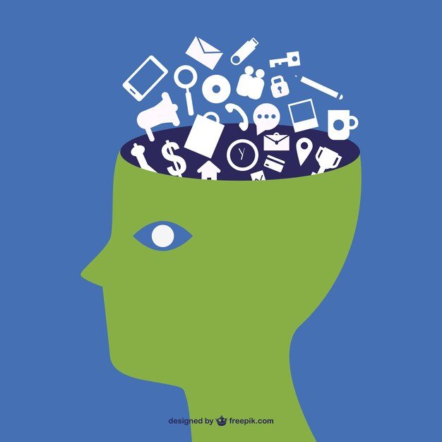 Tech wise brain Free Vector