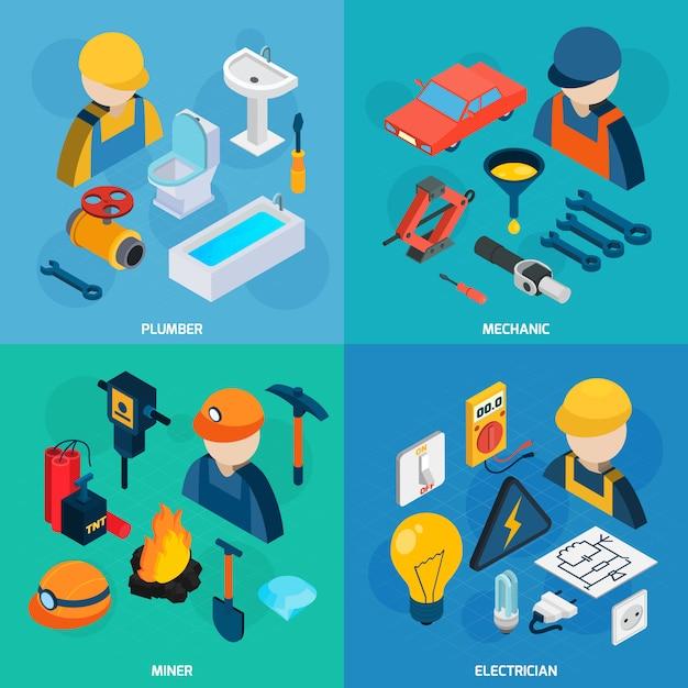 Technic professions isometric icon set Free Vector