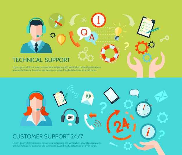 Technical assistance and support banners Free Vector
