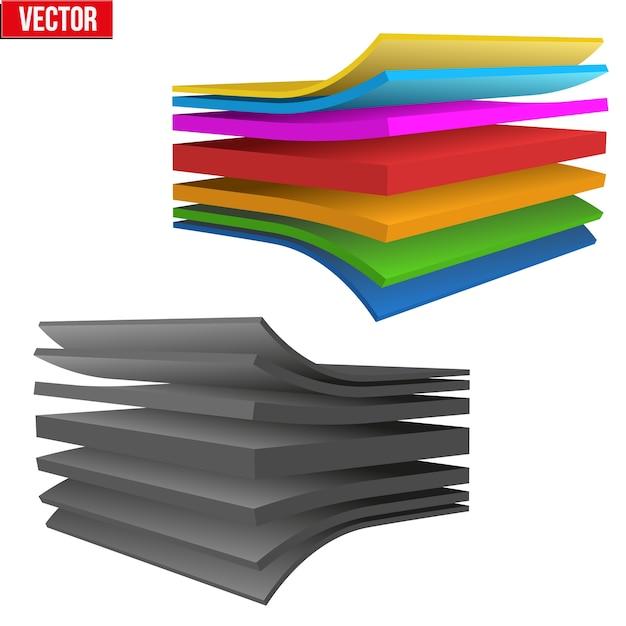 多層生地のテクニカルイラスト。材料の構造のデモ。白い背景のイラスト Premiumベクター