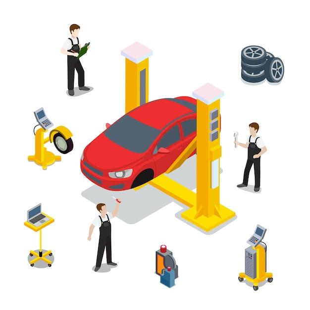 技術検査赤い車のサービステンプレート。等尺性チェック車両のwebサイトの図。白い背景の上の赤い車のホイールタイヤゴムコンピューター自動診断インフォグラフィック。 無料ベクター