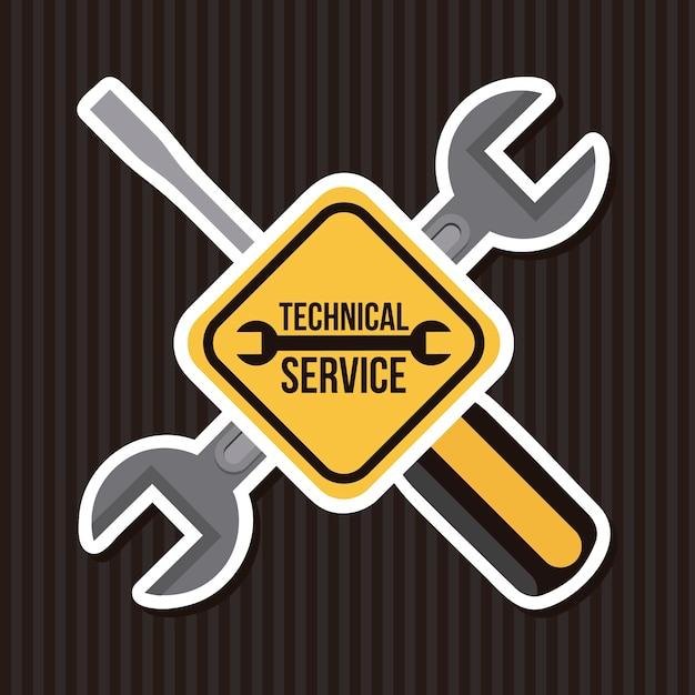 Technical service over black background vector illustration Premium Vector