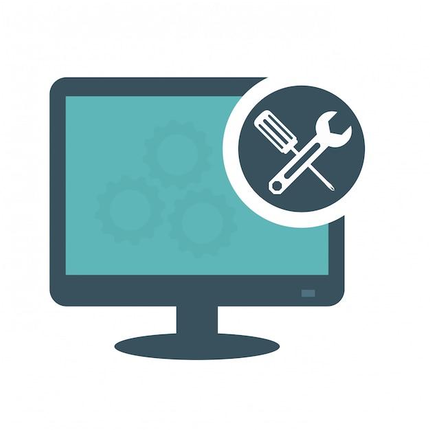 Technical service computers icon Premium Vector