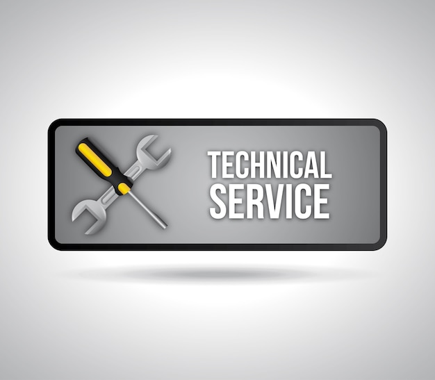 Technical service over gray background vector illustration Premium Vector
