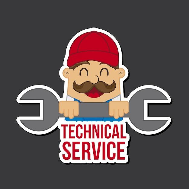 Technical service icon over black background Premium Vector