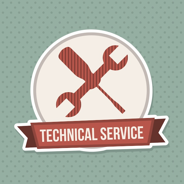 Technical service seal over blue dotted  background Premium Vector