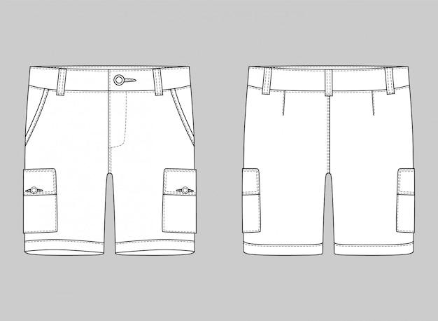 Technical sketch cargo shorts pants Premium Vector