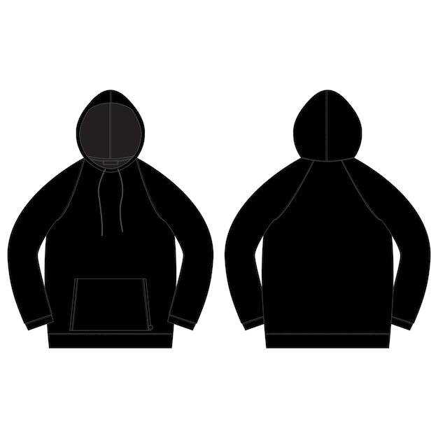 黒い色の男性パーカーのテクニカルスケッチ。 Premiumベクター