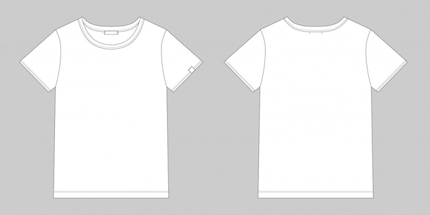 Technical sketch unisex t shirt. blank t-shirt design. front and back vector. Premium Vector