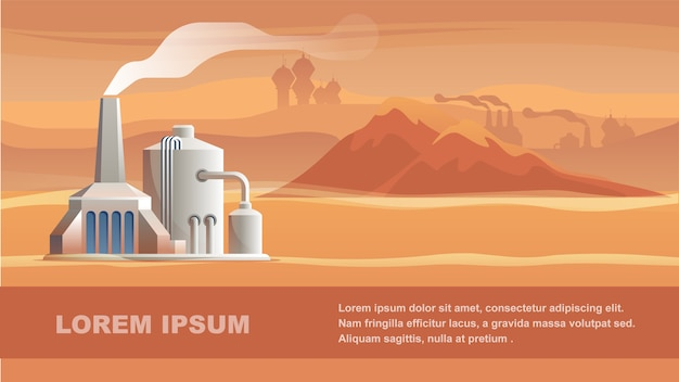 Technical station surface red planet. Premium Vector