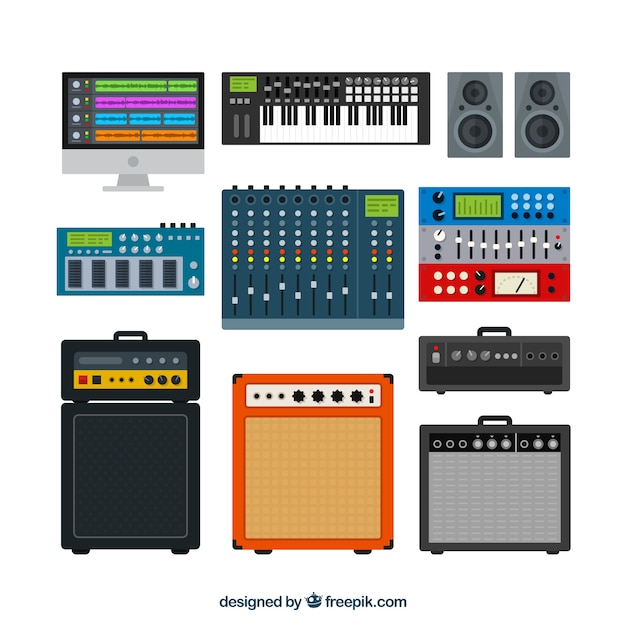 Technical stereo in flat design Free Vector