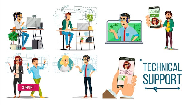 Technical support. client support team characters set. male, female Premium Vector