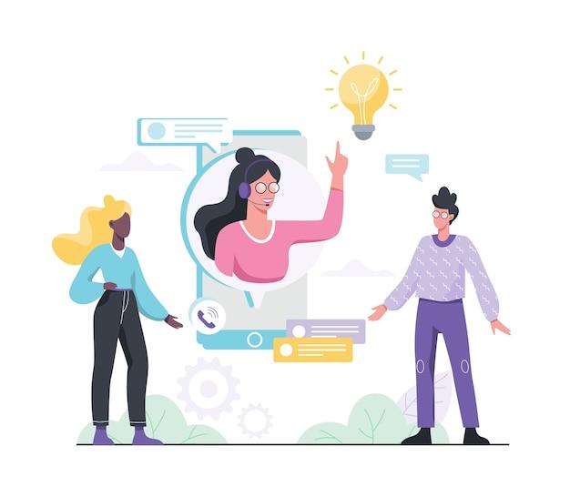 テクニカルサポートのコンセプト。カスタマーサービスのアイデア。クライアントをサポートし、問題を抱えているクライアントを支援します。お客様に貴重な情報を提供します。スタイルのイラスト Premiumベクター