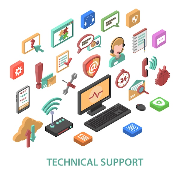 Technical support concept Free Vector