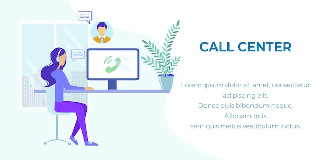 Technical support and customer service ad banner Premium Vector