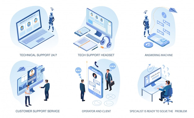 Technical support, customer service set isolated Premium Vector