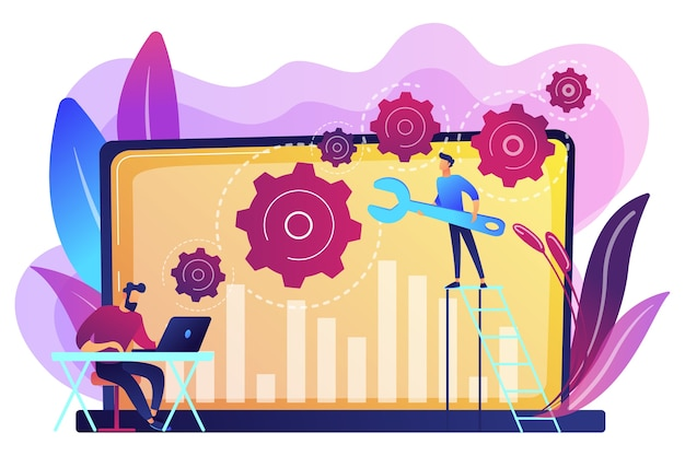 Technical support guys working on repairing a computer hardware and software. troubleshooting, fixing problems, problem checking concept. bright vibrant violet  isolated illustration Free Vector