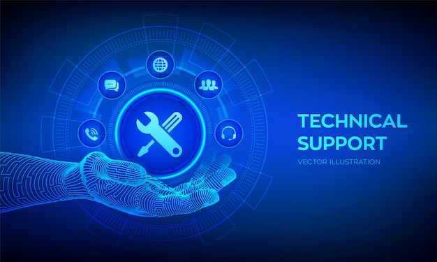 Technical Support Icon In Robotic Hand  Customer Help