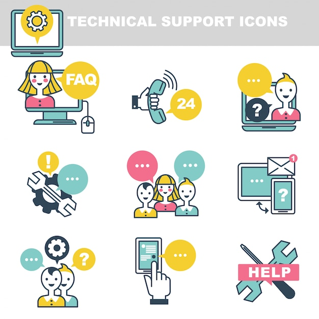 Technical support icons which symbolize help by phone or internet Premium Vector