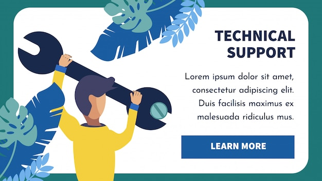 Technical support landing page vector template Premium Vector