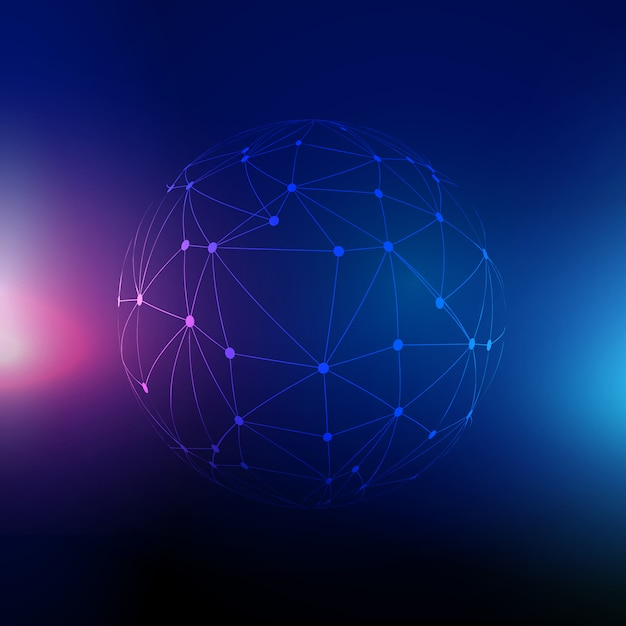 Techno background with sphere of connecting lines and dots Free Vector