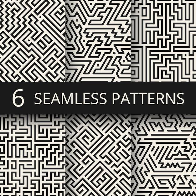 Techno graphic line seamless textures. modern stripes fashion design backgrounds Premium Vector