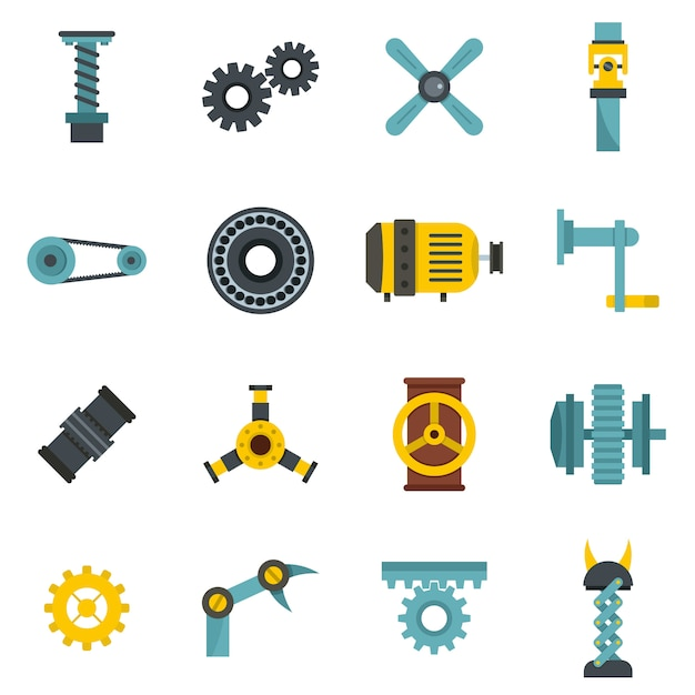 Techno mechanisms kit icons set in flat style Premium Vector