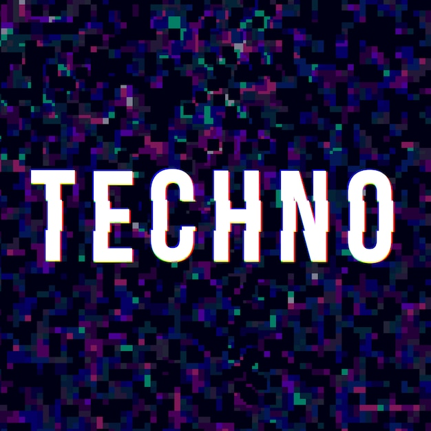Techno music sign at glitched style. Premium Vector