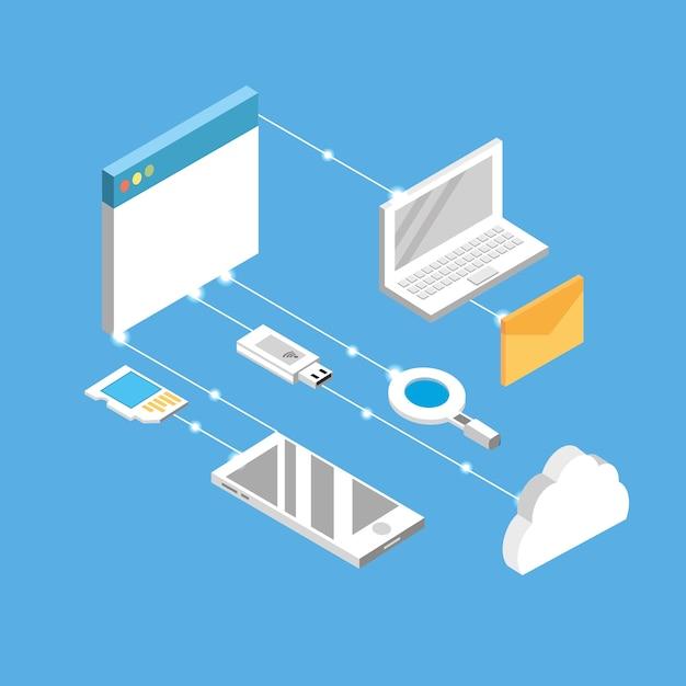 Technogies with data services conecction Premium Vector