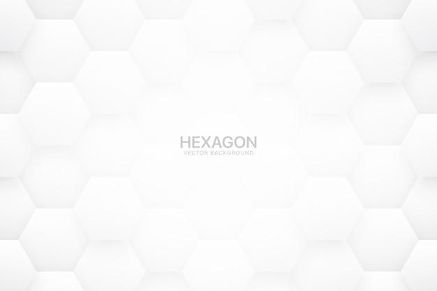 Technologicscientificの六角形ブロック最小限の白い抽象的な背景 Premiumベクター