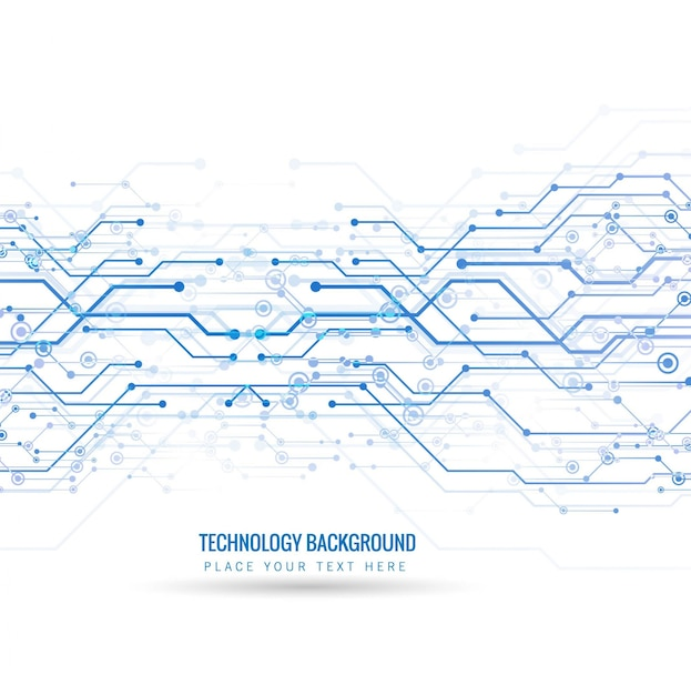 Technological background with blue lines and dots Free Vector
