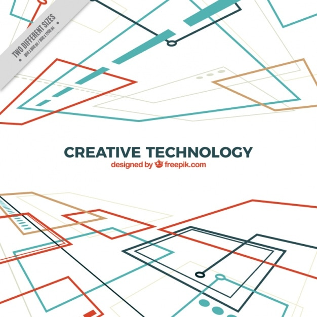 Technological background with circuits in perspective Free Vector