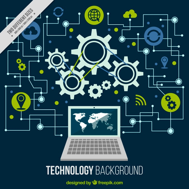 Technological background with a computer and circuits Free Vector
