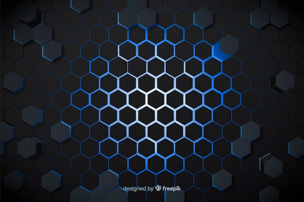 Technological blue lights of honeycomb background Free Vector