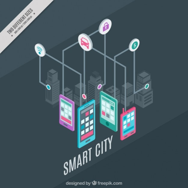 Technological city with icons and devices background Free Vector