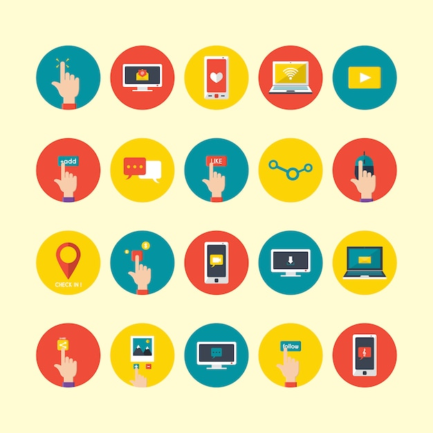 Technological devices icons collection Free Vector