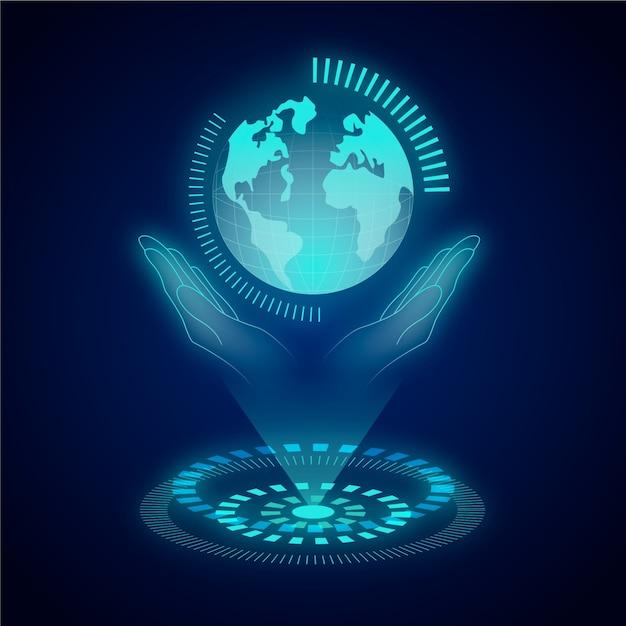 Concetto di ecologia tecnologica con ologramma Vettore gratuito