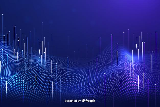 Технологические падающие частицы темного фона Бесплатные векторы